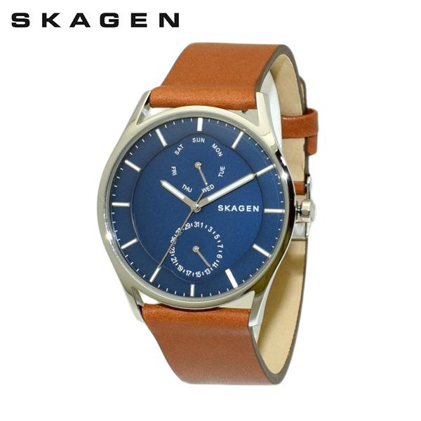スカーゲン 腕時計 SKW6449 SKAGEN 時計 メンズ ウォッチ ブラウン レザー/シルバー/ブルー 【送料無料(※北海道・沖縄は1,000円)】