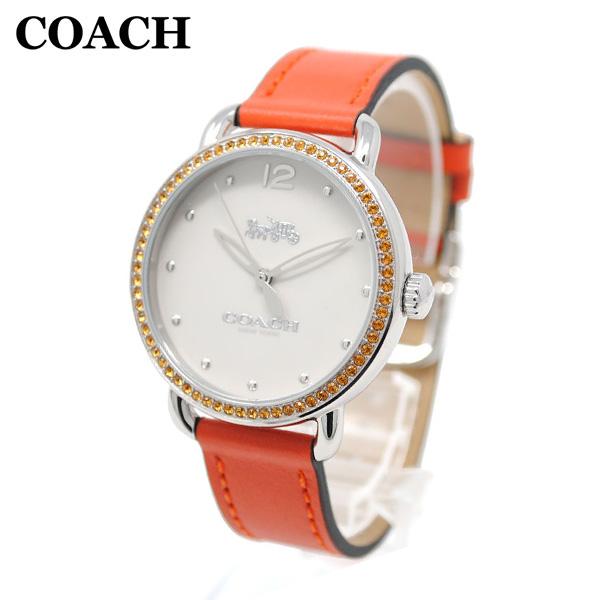 コーチ 腕時計 レディース 14502880 COACH DELANCEY デランシー シルバー/オレンジ レザー 時計 ウォッチ 【送料無料(※北海道・沖縄は1,000円)】