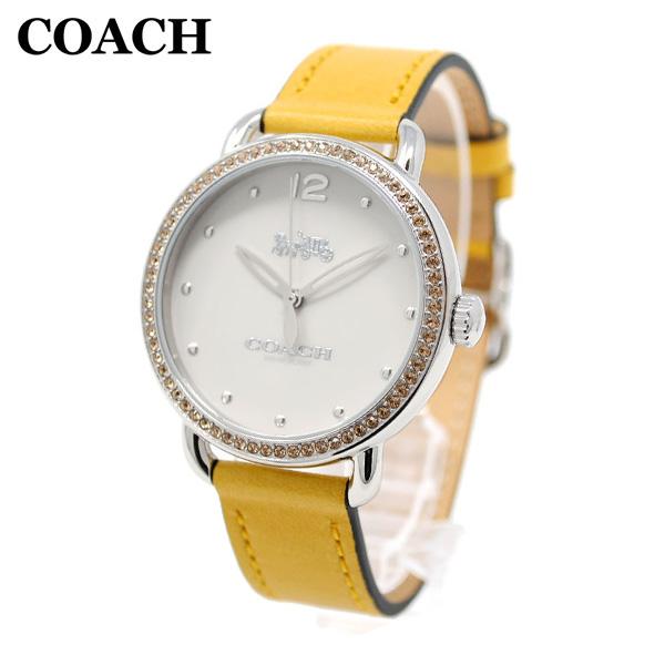 コーチ 腕時計 レディース 14502882 COACH DELANCEY デランシー シルバー/イエロー レザー 時計 ウォッチ 【送料無料(※北海道・沖縄は1,000円)】