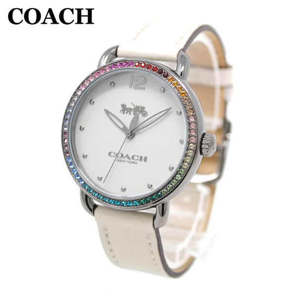 コーチ 腕時計 レディース 14502888 COACH DELANCEY デランシー シルバー/ホワイト レザー 時計 ウォッチ 【送料無料(※北海道・沖縄は1,000円)】