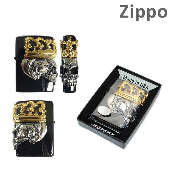 Zippo(ジッポー) ライター スカル BBZ-スカルKA2 ブラック 3面加工 ビューティービースト クラウン ドクロ チタン 【送料無料(※北海道・沖縄は注文不可)】