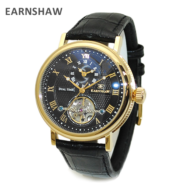【国内正規品】 EARNSHAW (アーンショウ) 時計 腕時計 ES-8047-08 レザー ブラック/ゴールド/ブラック メンズ ウォッチ 自動巻き 【送料無料(※北海道・沖縄は1,000円)】