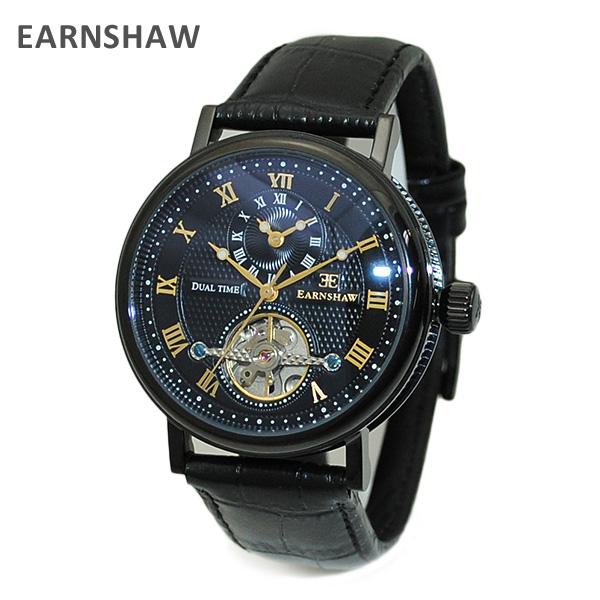 【国内正規品】 EARNSHAW (アーンショウ) 時計 腕時計 ES-8047-09 レザー ブラック/ブラック/ブラック メンズ ウォッチ 自動巻き 【送料無料(※北海道・沖縄は1,000円)】