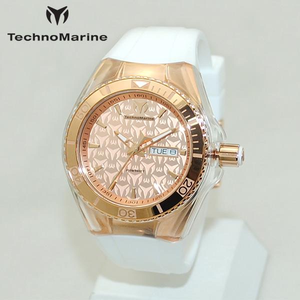 TechnoMarine テクノマリーン 腕時計 TM115001 CRUISE MONOGRAM ピンクゴールド/ホワイト ラバー ウォッチ テクノマリン 時計 【送料無料(※北海道・沖縄は1,000円)】