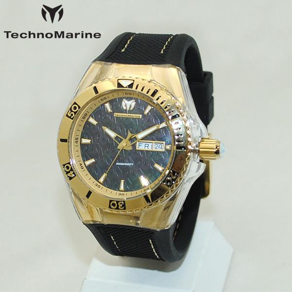 TechnoMarine テクノマリーン 腕時計 TM115213 CRUISE MONOGRAM ゴールド/ブラック ラバー ウォッチ テクノマリン 時計 【送料無料(※北海道・沖縄は1,000円)】