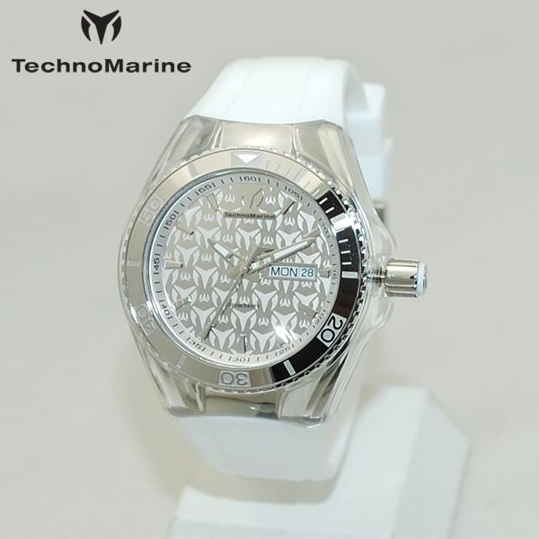 TechnoMarine テクノマリーン 腕時計 TM115060 CRUISE MONOGRAM シルバー/ホワイト ラバー ウォッチ テクノマリン 時計 【送料無料(※北海道・沖縄は1,000円)】