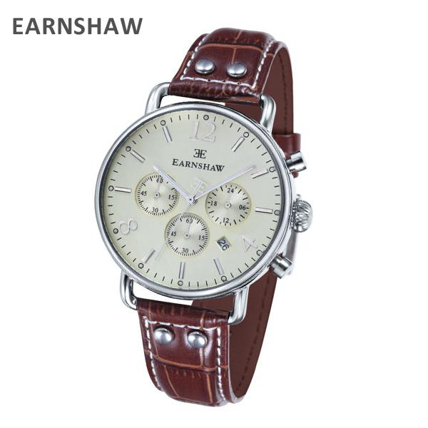 EARNSHAW アーンショウ 時計 腕時計 ES-8001-05 レザー ブラウン/シルバー メンズ ウォッチ クォーツ 【送料無料(※北海道・沖縄は1,000円)】