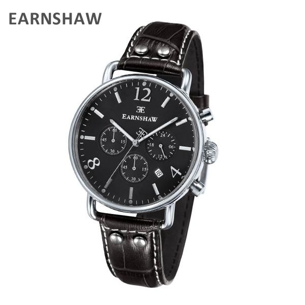 EARNSHAW アーンショウ 時計 腕時計 ES-8001-08 レザー ブラック/シルバー メンズ ウォッチ クォーツ 【送料無料(※北海道・沖縄は1,000円)】
