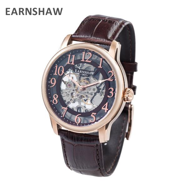 EARNSHAW アーンショウ 時計 腕時計 ES-8062-07 レザー ブラウン/ピンクゴールド メンズ ウォッチ 自動巻き 【送料無料(※北海道・沖縄は1,000円)】