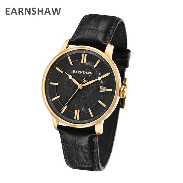 EARNSHAW アーンショウ 時計 腕時計 ES-8075-02 レザー ブラック/ゴールド メンズ ウォッチ 自動巻き 【送料無料(※北海道・沖縄は1,000円)】