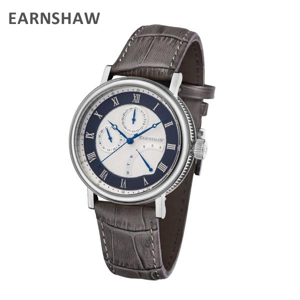 EARNSHAW アーンショウ 時計 腕時計 ES-8101-03 レザー グレー/シルバー メンズ ウォッチ クォーツ 【送料無料(※北海道・沖縄は1,000円)】
