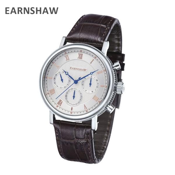 EARNSHAW アーンショウ 時計 腕時計 ES-8103-02 レザー ブラウン/シルバー メンズ ウォッチ クォーツ 【送料無料(※北海道・沖縄は1,000円)】