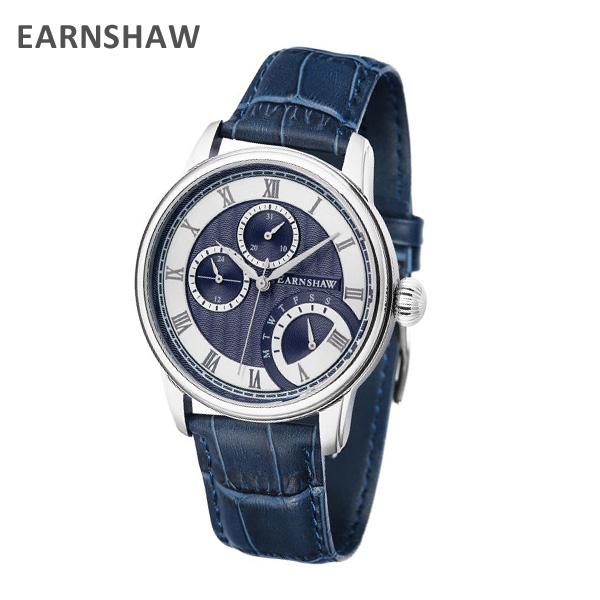EARNSHAW アーンショウ 時計 腕時計 ES-8104-02 レザー ブルー/シルバー メンズ ウォッチ クォーツ 【送料無料(※北海道・沖縄は1,000円)】