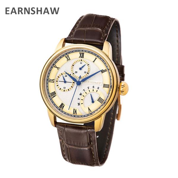 EARNSHAW アーンショウ 時計 腕時計 ES-8104-04 レザー ブラウン/ゴールド メンズ ウォッチ クォーツ 【送料無料(※北海道・沖縄は1,000円)】