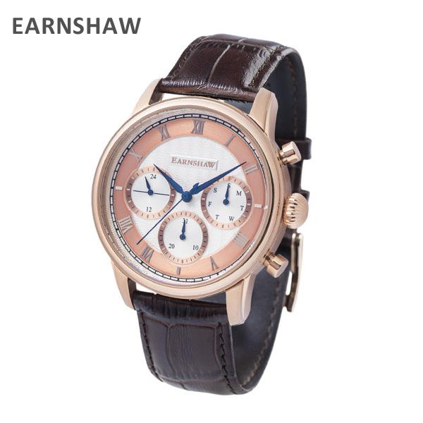 EARNSHAW アーンショウ 時計 腕時計 ES-8105-04 レザー ブラウン/ピンクゴールド メンズ ウォッチ クォーツ 【送料無料(※北海道・沖縄は1,000円)】