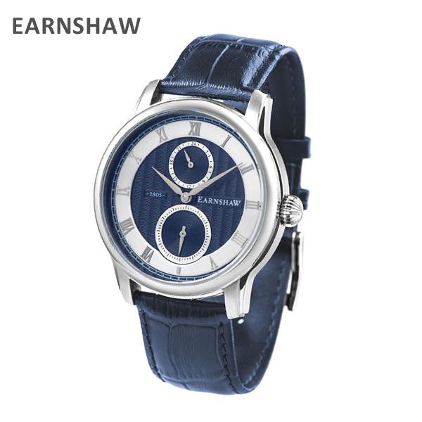 EARNSHAW アーンショウ 時計 腕時計 ES-8106-01 レザー ネイビー/シルバー メンズ ウォッチ クォーツ 【送料無料(※北海道・沖縄は1,000円)】