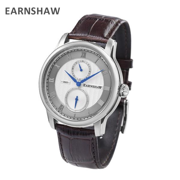 EARNSHAW アーンショウ 時計 腕時計 ES-8106-02 レザー ブラウン/シルバー メンズ ウォッチ クォーツ 【送料無料(※北海道・沖縄は1,000円)】