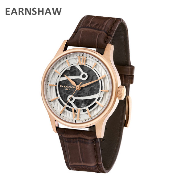 EARNSHAW アーンショウ 時計 腕時計 ES-8801-02 レザー ブラウン/ピンクゴールド メンズ ウォッチ 自動巻き【送料無料(※北海道・沖縄は1,000円)】