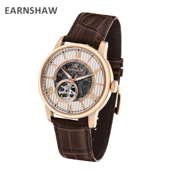 EARNSHAW アーンショウ 時計 腕時計 ES-8802-04 レザー ブラウン/ピンクゴールド メンズ ウォッチ 自動巻き【送料無料(※北海道・沖縄は1,000円)】