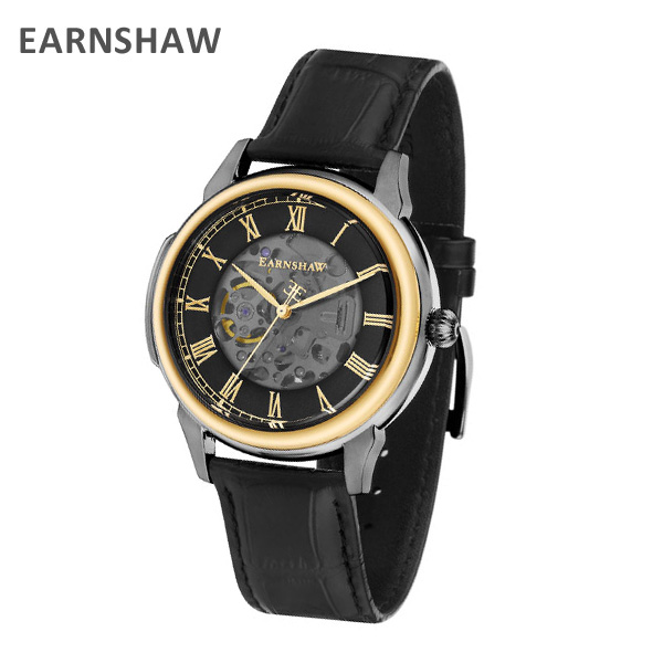 EARNSHAW アーンショウ 時計 腕時計 ES-8805-03 レザー ブラック/ゴールド/ガンメタル メンズ ウォッチ 自動巻き【送料無料(※北海道・沖縄は1,000円)】