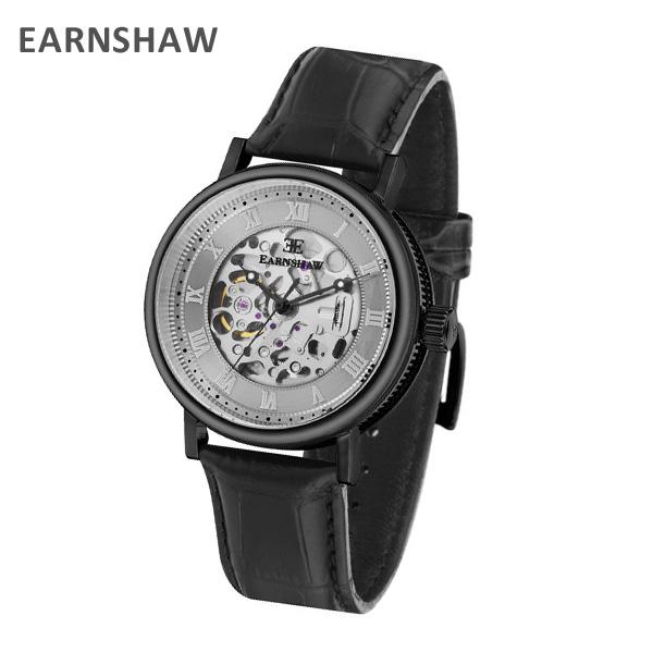 EARNSHAW アーンショウ 時計 腕時計 ES-8806-04 レザー ブラック/ブラック メンズ ウォッチ 自動巻き【送料無料(※北海道・沖縄は1,000円)】