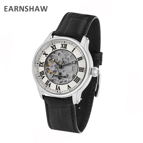 EARNSHAW アーンショウ 時計 腕時計 ES-8807-01 レザー ブラック/シルバー メンズ ウォッチ 自動巻き【送料無料(※北海道・沖縄は1,000円)】