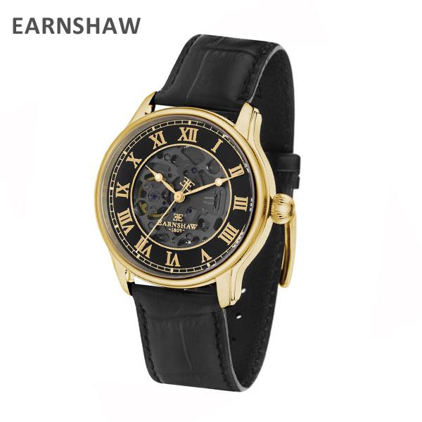 EARNSHAW アーンショウ 時計 腕時計 ES-8807-02 レザー ブラック/ゴールド メンズ ウォッチ 自動巻き【送料無料(※北海道・沖縄は1,000円)】