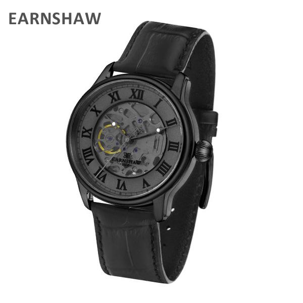 EARNSHAW アーンショウ 時計 腕時計 ES-8807-03 レザー ブラック/ブラック メンズ ウォッチ 自動巻き【送料無料(※北海道・沖縄は1,000円)】