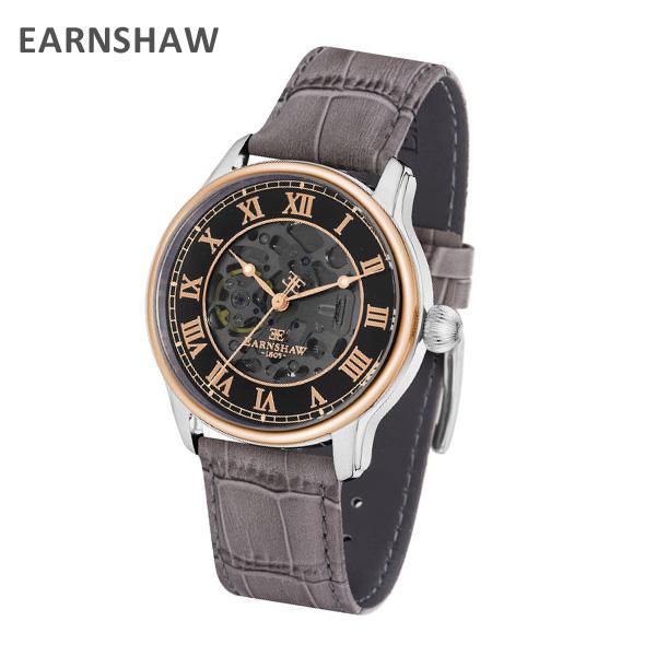 EARNSHAW アーンショウ 時計 腕時計 ES-8807-04 レザー グレー/ ピンクゴールド/シルバー メンズ ウォッチ 自動巻き【送料無料(※北海道・沖縄は1,000円)】