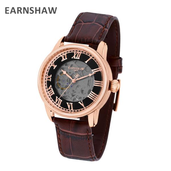 EARNSHAW アーンショウ 時計 腕時計 ES-8808-02 レザー ブラウン/ピンクゴールド メンズ ウォッチ 自動巻き【送料無料(※北海道・沖縄は1,000円)】