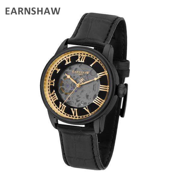 EARNSHAW アーンショウ 時計 腕時計 ES-8808-03 レザー ブラック/ブラック/ゴールド メンズ ウォッチ 自動巻き【送料無料(※北海道・沖縄は1,000円)】