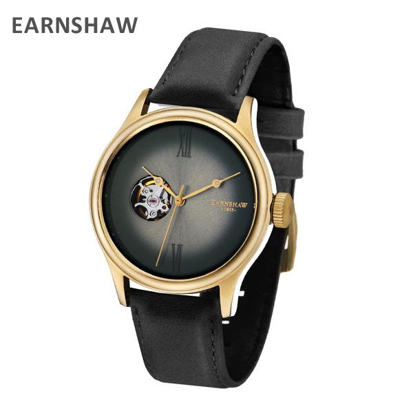 EARNSHAW アーンショウ 時計 腕時計 ES-8809-03 レザー ブラック/ゴールド メンズ ウォッチ 自動巻き【送料無料(※北海道・沖縄は1,000円)】