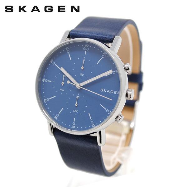 スカーゲン 腕時計 SKW6463 SKAGEN SIGNATUR 時計 メンズ ウォッチ ブルー/シルバー/ネイビー レザー 【送料無料(※北海道・沖縄は1,000円)】