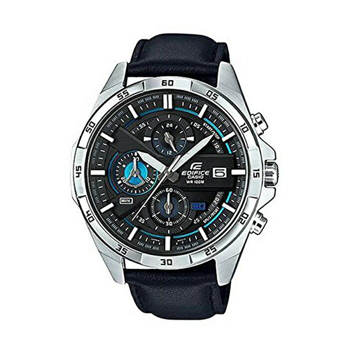 【並行輸入品】【10年保証】CASIO EDIFICE CHRONOGRAPH カシオ エディフィス クロノグラフ EFR-556L-1A 腕時計 メンズ アナログ 防水 ブラック 黒 シルバー レザー 革ベルト