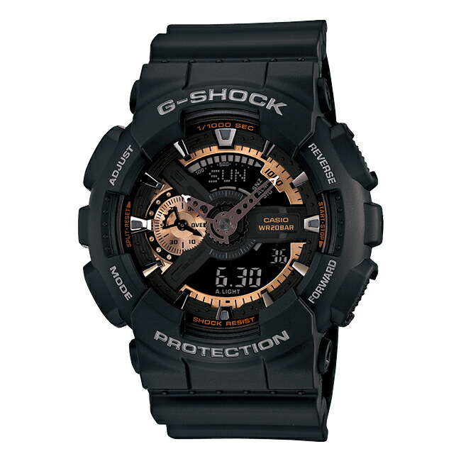 【並行輸入品】【10年保証】CASIO G-SHOCK ROSE GOLD SERIES カシオ Gショック ローズゴールド シリーズ GA-110RG-1A 腕時計 メンズ キッズ 子供 男の子 ジーショック アナデジ 防水 ブラック 黒 ローズゴールド