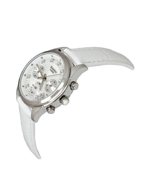 【並行輸入品】【10年保証】CASIO SHEEN カシオ シーン SHE-5023L-7A 腕時計 レディース クロノグラフ アナログ シルバー ホワイト 白 レザー 革ベルト