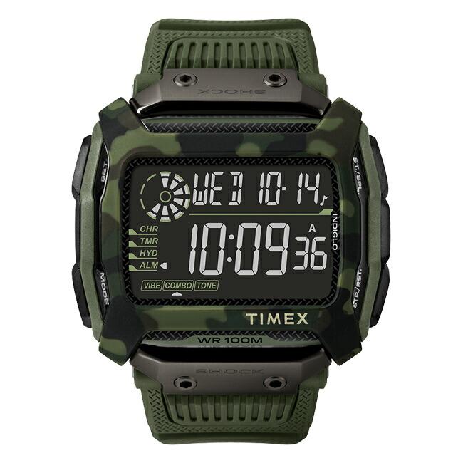 【並行輸入品】TIMEX COMMAND SHOCK 54MM タイメックス コマンド ショック 54MM TW5M20400 腕時計 メンズ デジタル カーキ ブラック 黒 カモフラージュ 迷彩