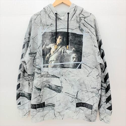 ■OFF-WHITE/オフホワイト■16SS/Black Marble Hooded Sweatshirt【FS和泉中央店】【中古】ブラックマーブルフーディー/ロゴプリント/グレー/サイズ:XS/メンズ/190327