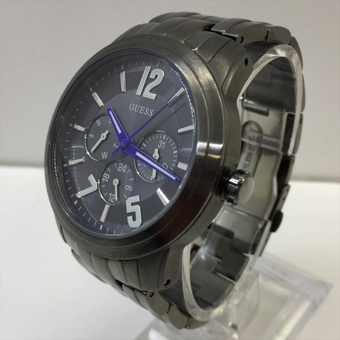 GUESS ゲス W13591G1 クロノグラフ シルバーブラック グレー 国内即発送 洲本店 中古 限定特価 時計 200329 メンズ 腕時計