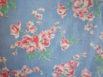 feedsack パッチワーク キルト ハンドメイド 日本 最安値 小物作りに ブルー地ピンクお花 16サイズ フィードサック 1