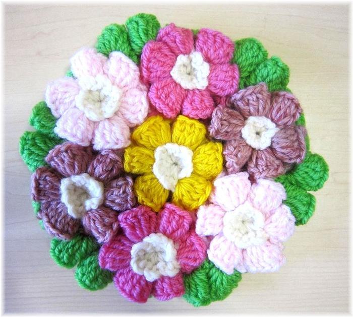 かぎ針編み 直営店 レトロ クロシェ 手編み 毛糸 定価の67%OFF お花の鍋敷き ハンドメイド