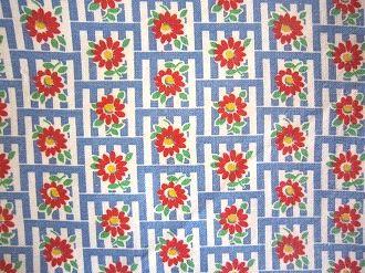 在庫あり feedsack パッチワーク キルト ハンドメイド 小物作りに 綿 16サイズ はぎれ 信用 コットン 1 白地ブルーブロックに赤いお花 フィードサック