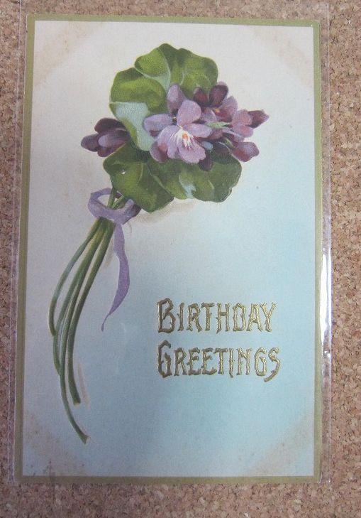 美しいアンティークポストカード ヴィンテージ アンティーク ポストカード すみれ 1900年代初期 アメリカ 絵葉書 日本最大級の品揃え 無料サンプルOK