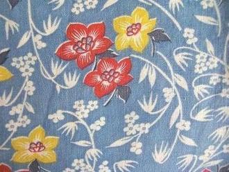 feedsack パッチワーク 受注生産品 キルト ハンドメイド 小物に 1 フィードサック 購入 4サイズ ブルー地赤黄白お花