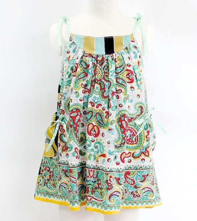NIXIE CLOTHING ニクシークロージングヴィンテージ シルクプリント ストラップドレス《エメラルド》6才(115cm)