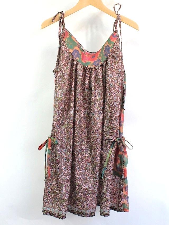 NIXIE CLOTHING ニクシークロージングヴィンテージ シルクプリント ストラップドレス《茶系》12才(145cm)