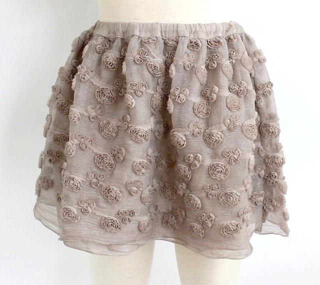 Olive オリーブリボンフラワー ギャザースカート《ベージュ》6才、8才