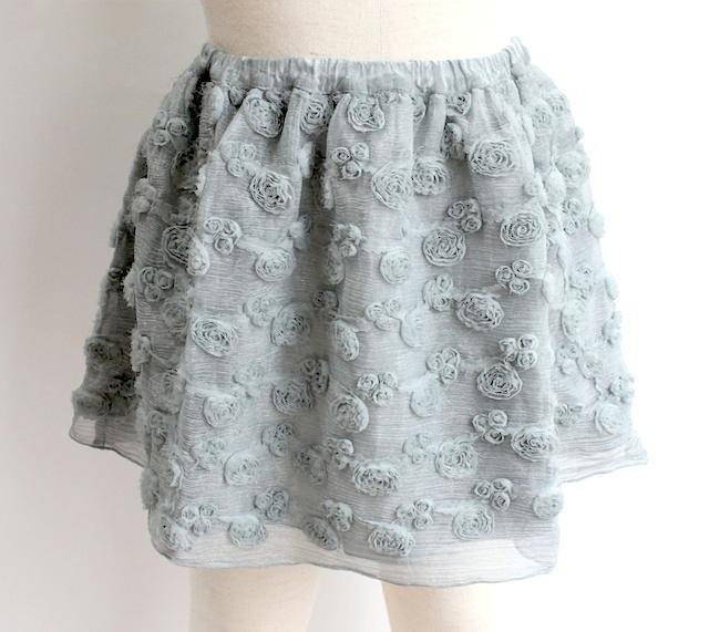 Olive オリーブリボンフラワー ギャザースカート《シルバーグレー》6才、8才