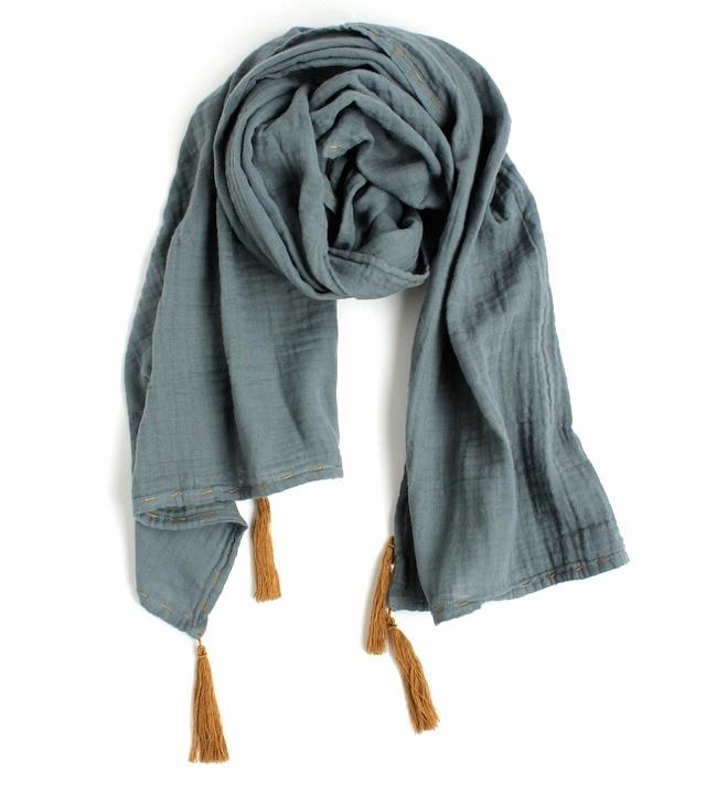 Numero 74二重織りガーゼ スカーフMサイズ《Ice Blue》