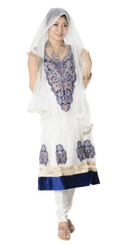 【送料無料】 サフェードのパンジャビドレス 3点セット 白×濃青 / パーティードレス コスプレ インドのドレス パンジャービードレス サリー レディース 女性物 エスニック衣料 アジアンファッション エスニックファッション